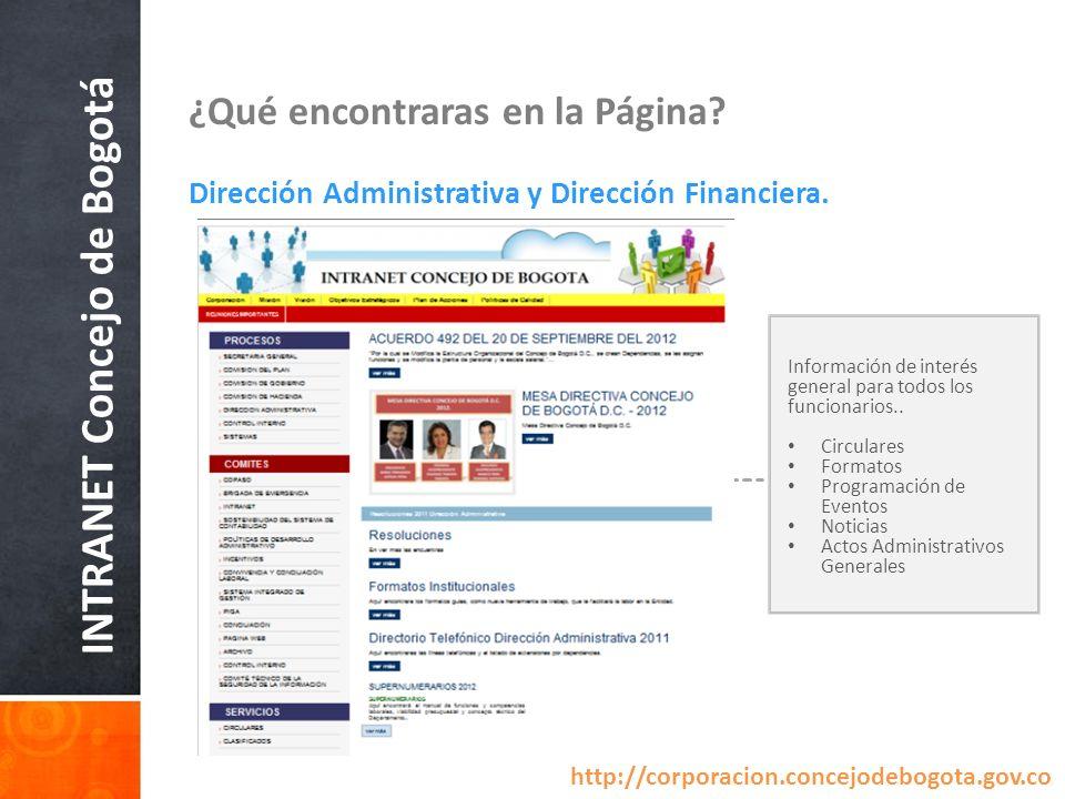 INTRANET Concejo de Bogotá ¿Qué encontraras en la Página? Dirección Administrativa y Dirección Financiera. Información de interés general para todos l