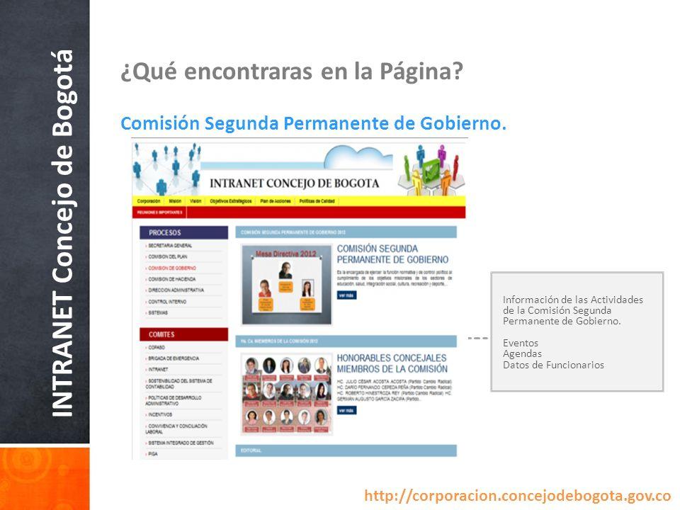 INTRANET Concejo de Bogotá ¿Qué encontraras en la Página? Comisión Segunda Permanente de Gobierno. Información de las Actividades de la Comisión Segun