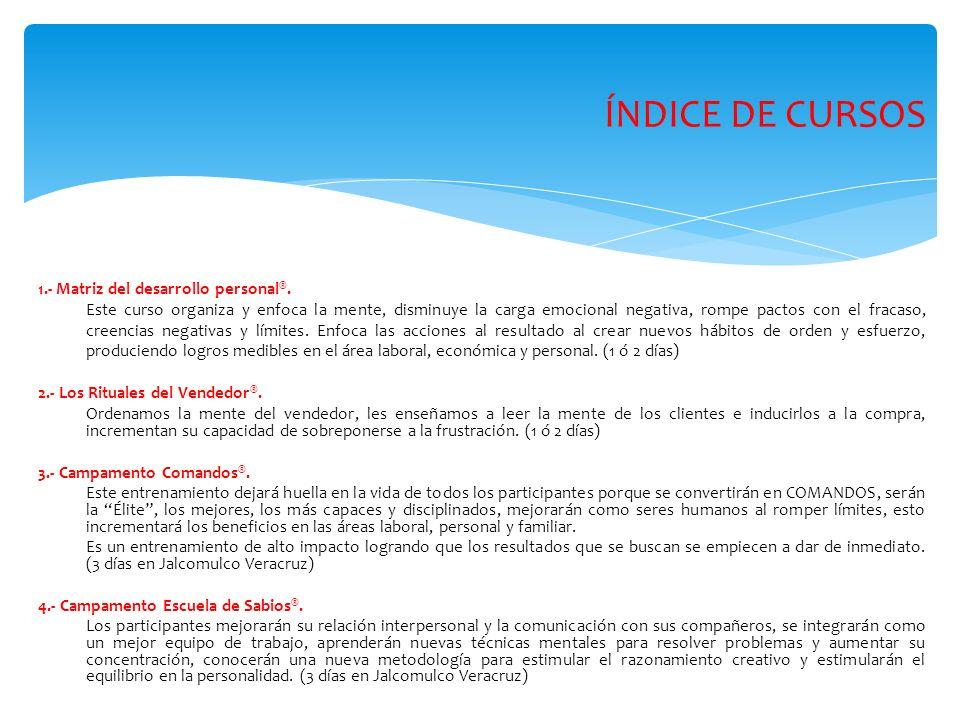 ÍNDICE DE CURSOS 1.- Matriz del desarrollo personal ®.