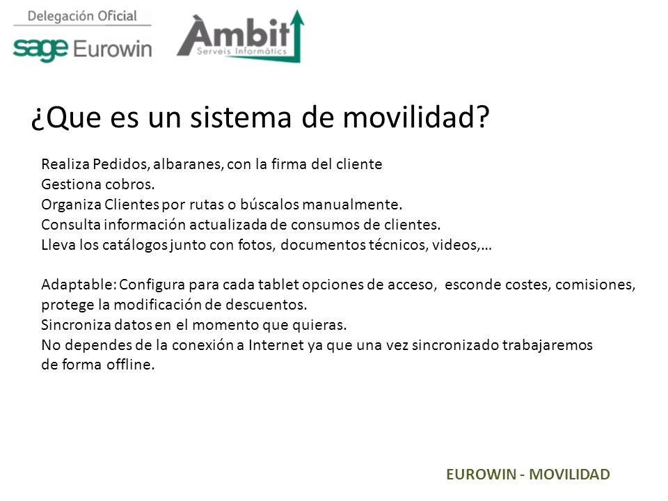 EUROWIN - MOVILIDAD ¿Que es un sistema de movilidad? Realiza Pedidos, albaranes, con la firma del cliente Gestiona cobros. Organiza Clientes por rutas