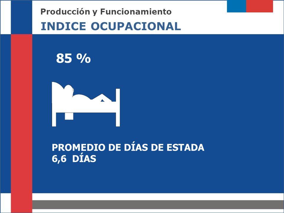 Producción y Funcionamiento INDICE OCUPACIONAL PROMEDIO DE DÍAS DE ESTADA 6,6 DÍAS 85 %