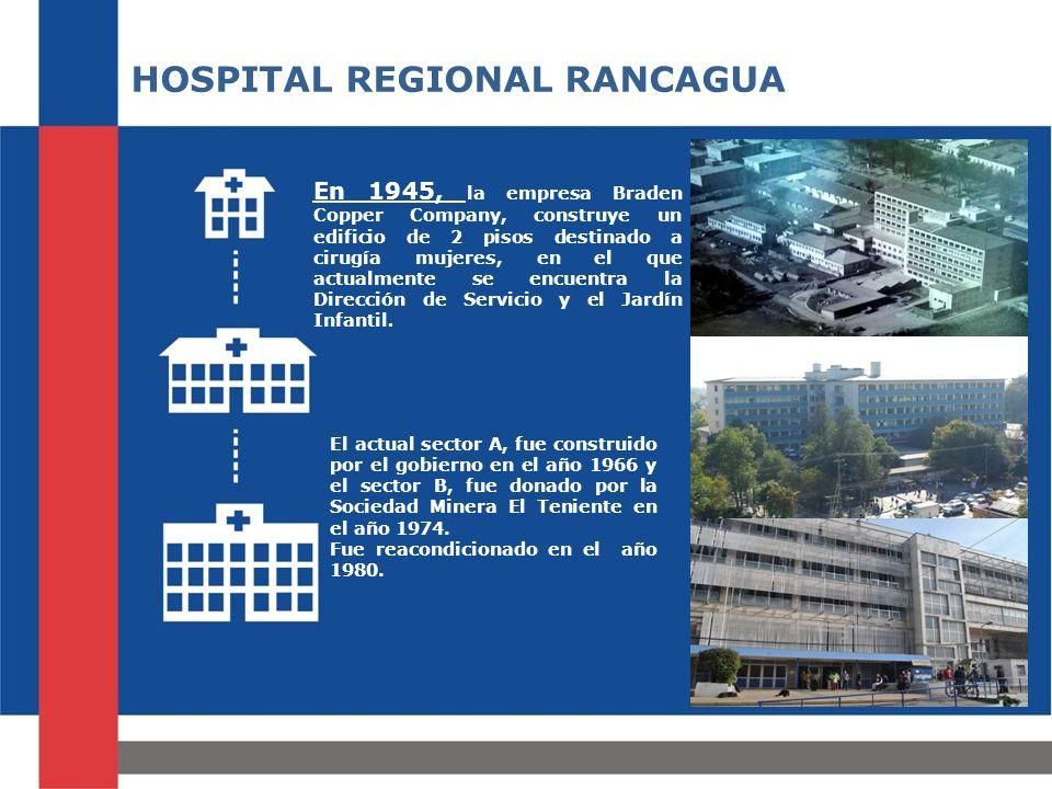 HOSPITAL REGIONAL RANCAGUA En 1945, la empresa Braden Copper Company, construye un edificio de 2 pisos destinado a cirugía mujeres, en el que actualmente se encuentra la Dirección de Servicio y el Jardín Infantil.