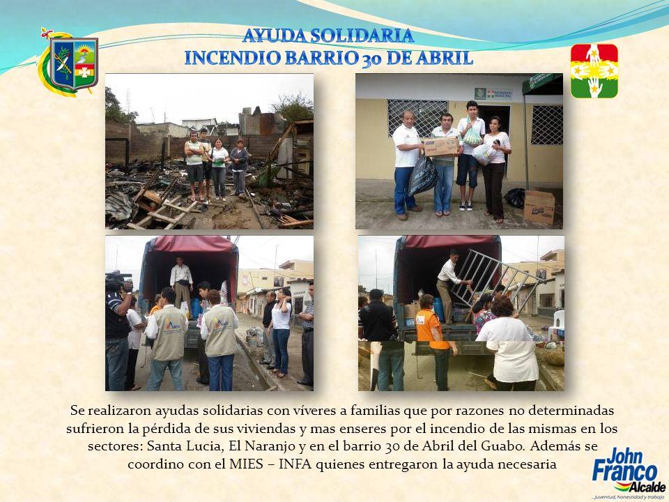 Se realizaron ayudas solidarias con víveres a familias que por razones no determinadas sufrieron la pérdida de sus viviendas y mas enseres por el ince