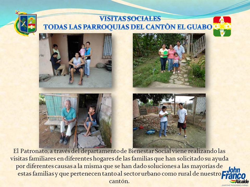 El Patronato, a través del departamento de Bienestar Social viene realizando las visitas familiares en diferentes hogares de las familias que han soli