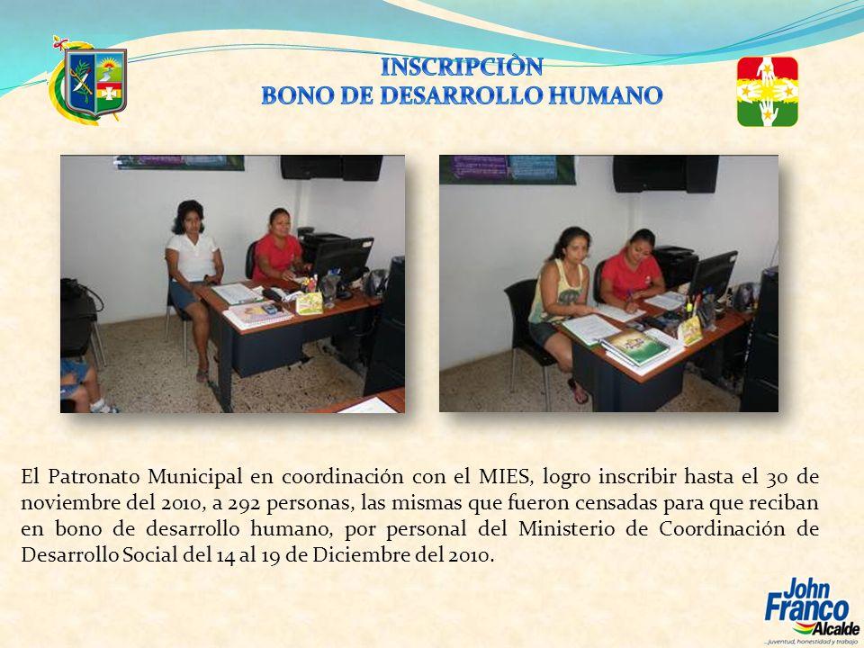 El Patronato Municipal en coordinación con el MIES, logro inscribir hasta el 30 de noviembre del 2010, a 292 personas, las mismas que fueron censadas