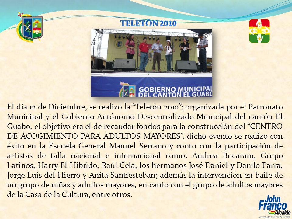 El día 12 de Diciembre, se realizo la Teletón 2010; organizada por el Patronato Municipal y el Gobierno Autónomo Descentralizado Municipal del cantón