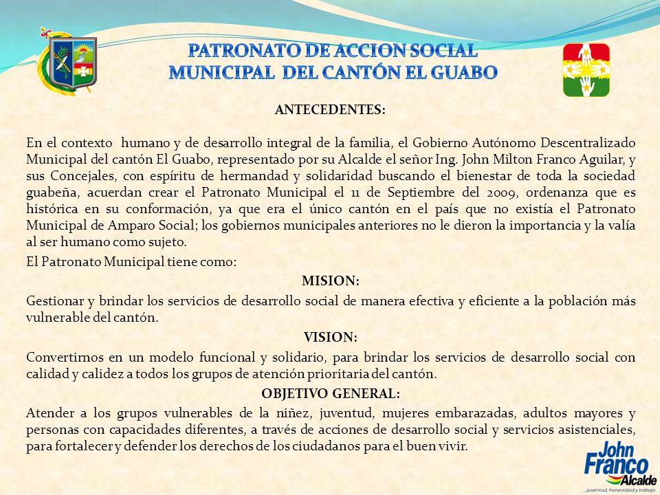 El Patronato Municipal, ha realizado ayudas económicas y solidarias a favor de familias humildes y especialmente de niños con enfermedades graves, que en muchas veces han sido trasladados a la ciudad de Guayaquil.