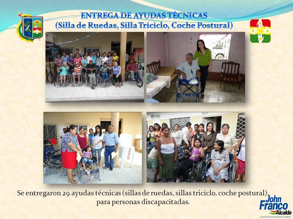 Se entregaron 29 ayudas técnicas (sillas de ruedas, sillas triciclo, coche postural), para personas discapacitadas.
