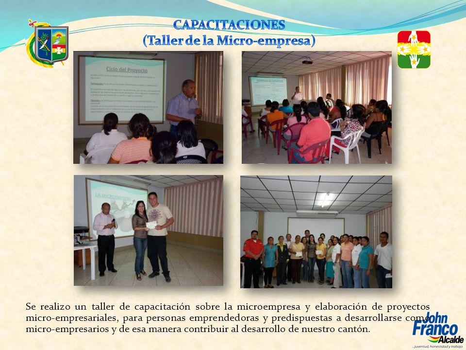 Se realizo un taller de capacitación sobre la microempresa y elaboración de proyectos micro-empresariales, para personas emprendedoras y predispuestas