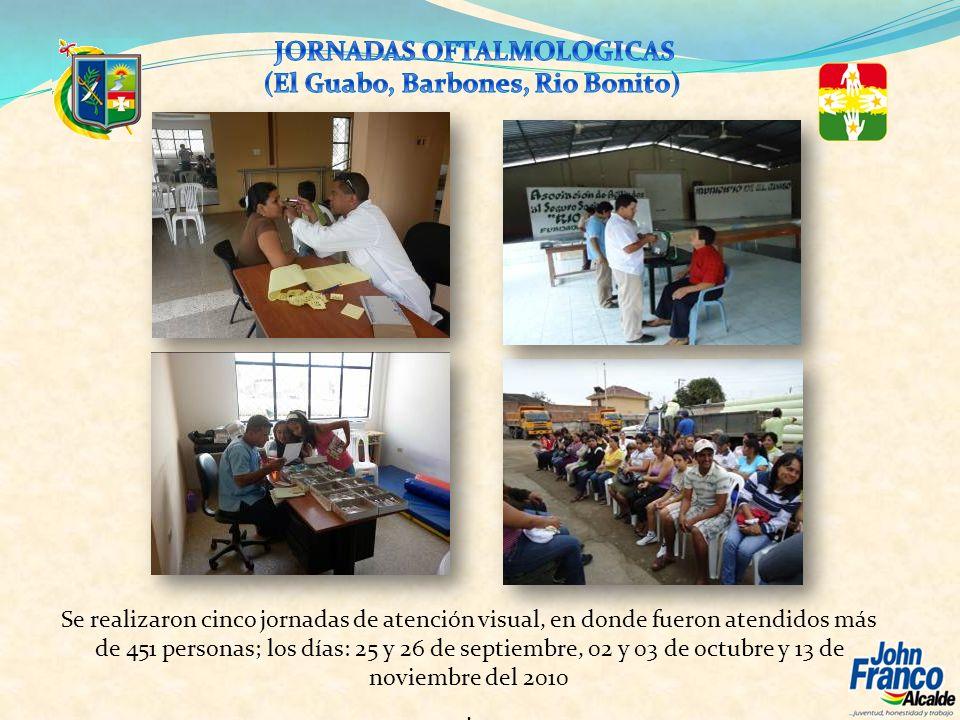 Se realizaron cinco jornadas de atención visual, en donde fueron atendidos más de 451 personas; los días: 25 y 26 de septiembre, 02 y 03 de octubre y