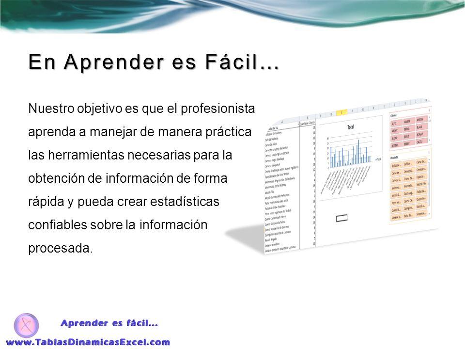 Con nuestro curso podrá… Crear Tablas Dinámicas a partir de un documento de Excel o de otro origen de datos, tal como Access o SQL Server.