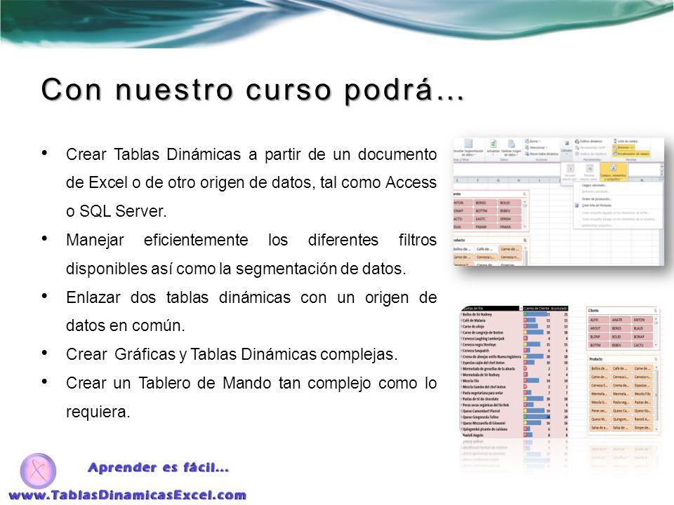 Con nuestro curso podrá… Crear Tablas Dinámicas a partir de un documento de Excel o de otro origen de datos, tal como Access o SQL Server. Manejar efi