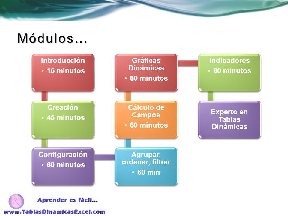 Introducción 15 minutos Creación 45 minutos Configuración 60 minutos Agrupar, ordenar, filtrar 60 min Cálculo de Campos 60 minutos Gráficas Dinámicas