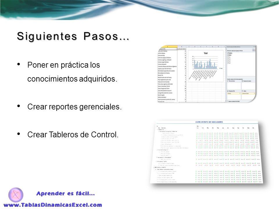 Poner en práctica los conocimientos adquiridos. Crear reportes gerenciales. Crear Tableros de Control. Siguientes Pasos…