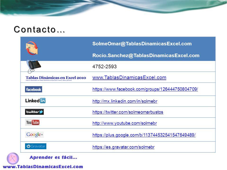 Contacto… SolmeOmar@TablasDinamicasExcel.com Rocio.Sanchez@TablasDinamicasExcel.com 4752-2593 www.TablasDinamicasExcel.com https://www.facebook.com/gr