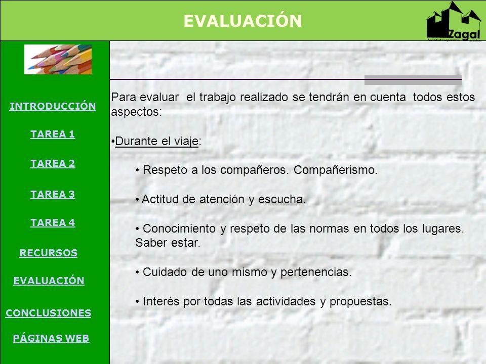 EVALUACIÓN INTRODUCCIÓN TAREA PROCESO RECURSOS EVALUACIÓN CONCLUSIONES CREDITOS Guía para el profesor Para evaluar el trabajo realizado se tendrán en