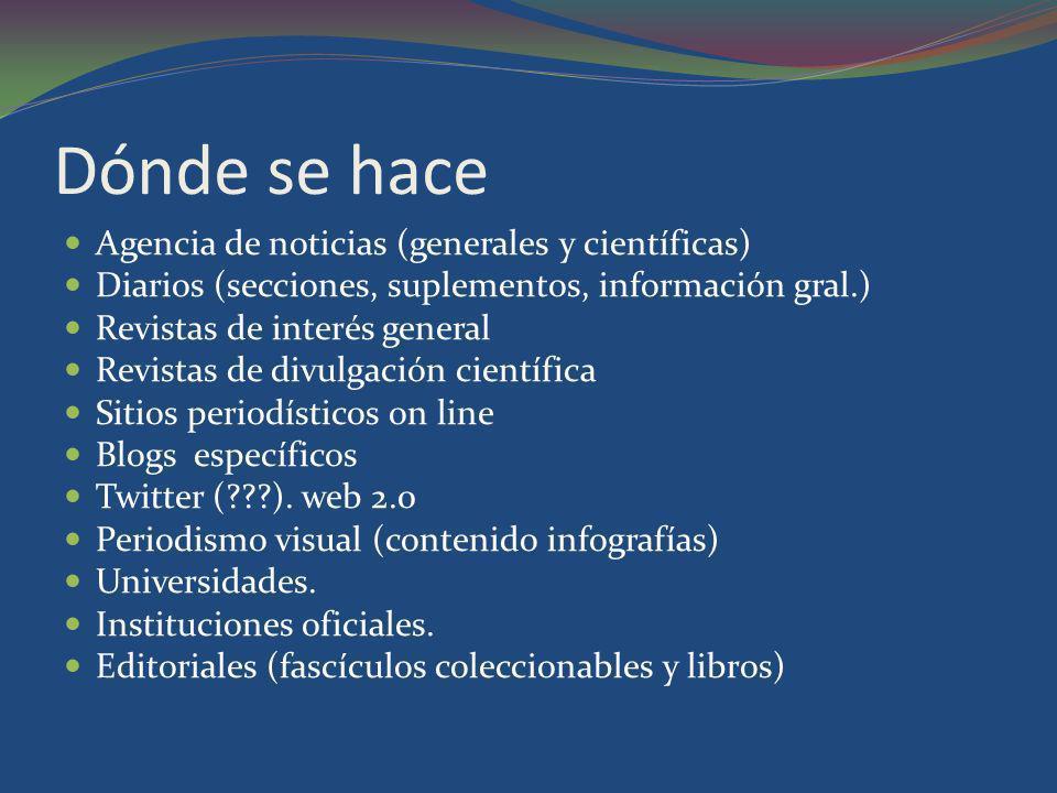 Dónde se hace Agencia de noticias (generales y científicas) Diarios (secciones, suplementos, información gral.) Revistas de interés general Revistas d
