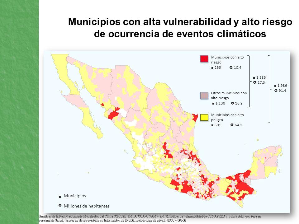 Municipios con alta vulnerabilidad y alto riesgo de ocurrencia de eventos climáticos FUENTE: Proyecciones climáticas de la Red Mexicana de Modelación