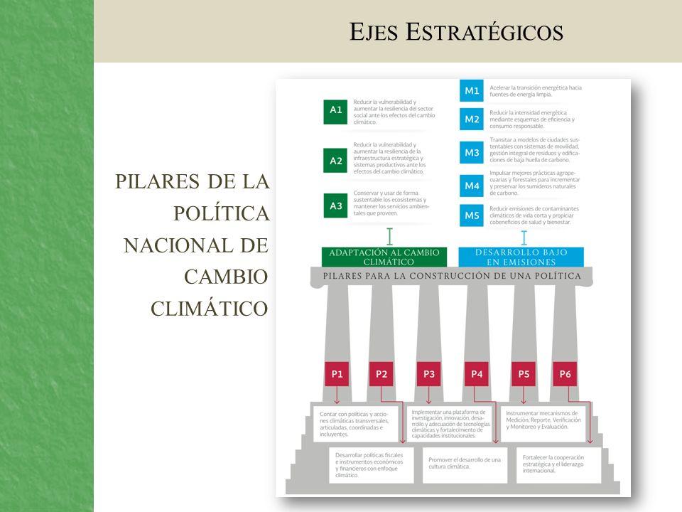 E JES E STRATÉGICOS PILARES DE LA POLÍTICA NACIONAL DE CAMBIO CLIMÁTICO