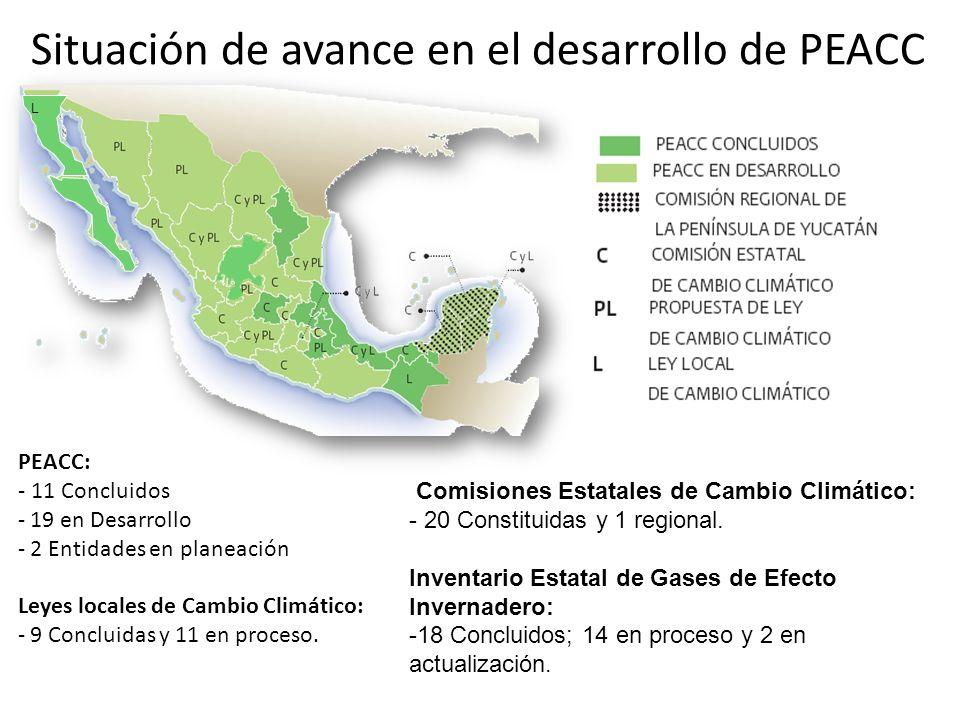 PEACC: - 11 Concluidos - 19 en Desarrollo - 2 Entidades en planeación Leyes locales de Cambio Climático: - 9 Concluidas y 11 en proceso. Comisiones Es
