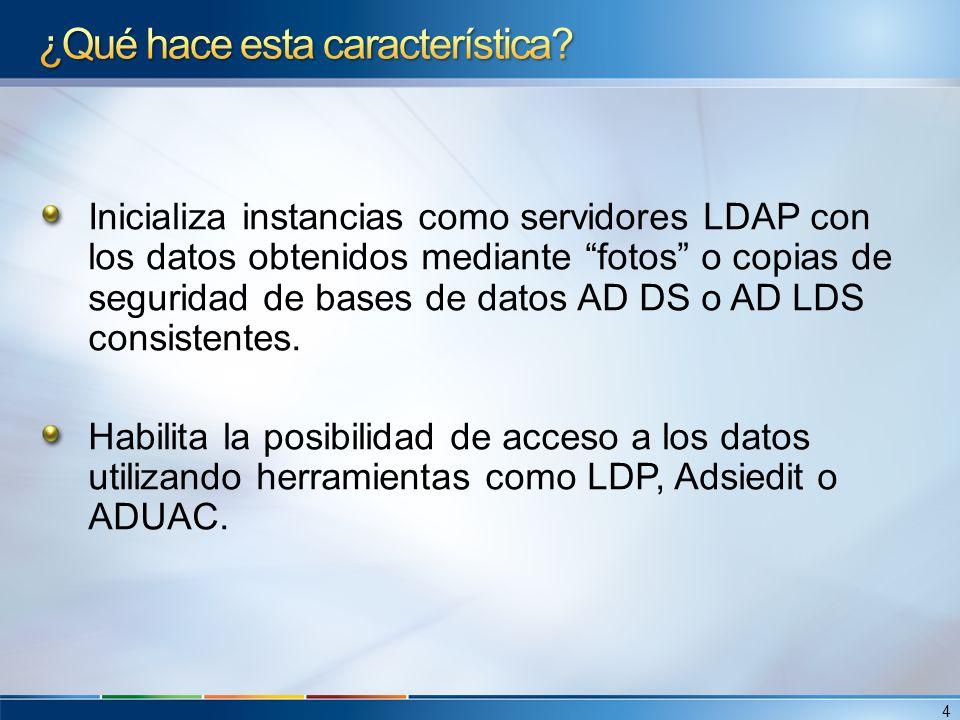 Inicializa instancias como servidores LDAP con los datos obtenidos mediante fotos o copias de seguridad de bases de datos AD DS o AD LDS consistentes.