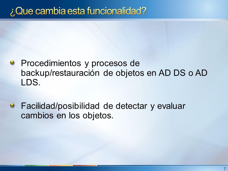 Procedimientos y procesos de backup/restauración de objetos en AD DS o AD LDS.