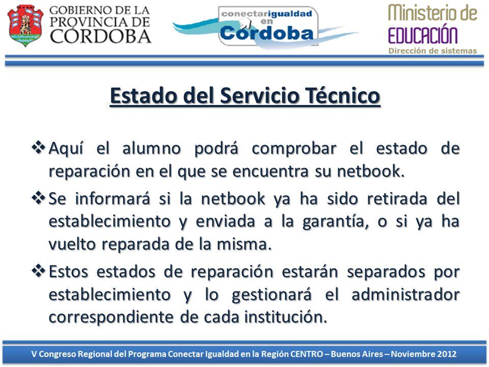 Estado del Servicio Técnico Aquí el alumno podrá comprobar el estado de reparación en el que se encuentra su netbook. Aquí el alumno podrá comprobar e