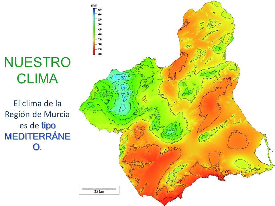 tipo MEDITERRÁNE O NUESTRO CLIMA El clima de la Región de Murcia es de tipo MEDITERRÁNE O.