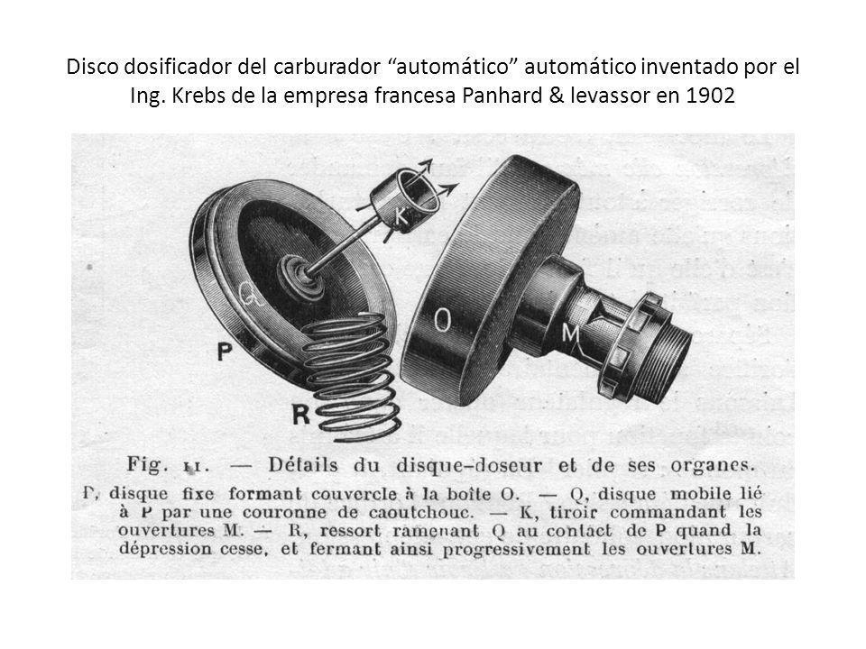 Disco dosificador del carburador automático automático inventado por el Ing. Krebs de la empresa francesa Panhard & levassor en 1902