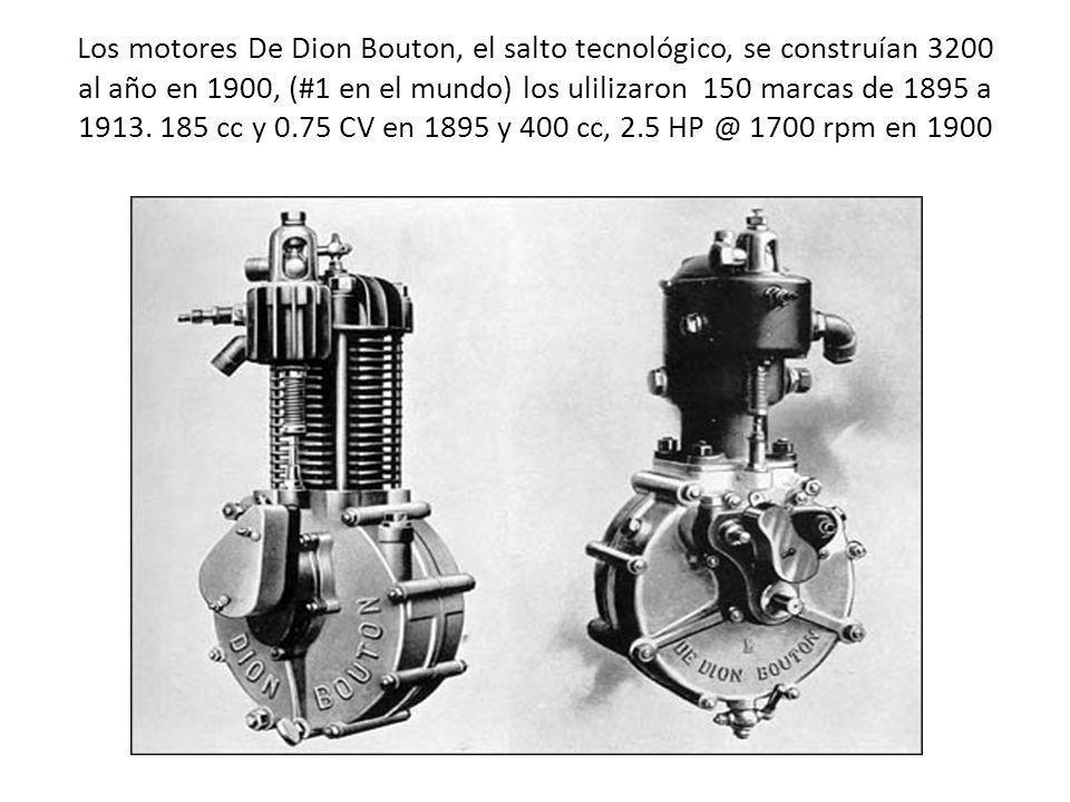 Los motores De Dion Bouton, el salto tecnológico, se construían 3200 al año en 1900, (#1 en el mundo) los ulilizaron 150 marcas de 1895 a 1913. 185 cc