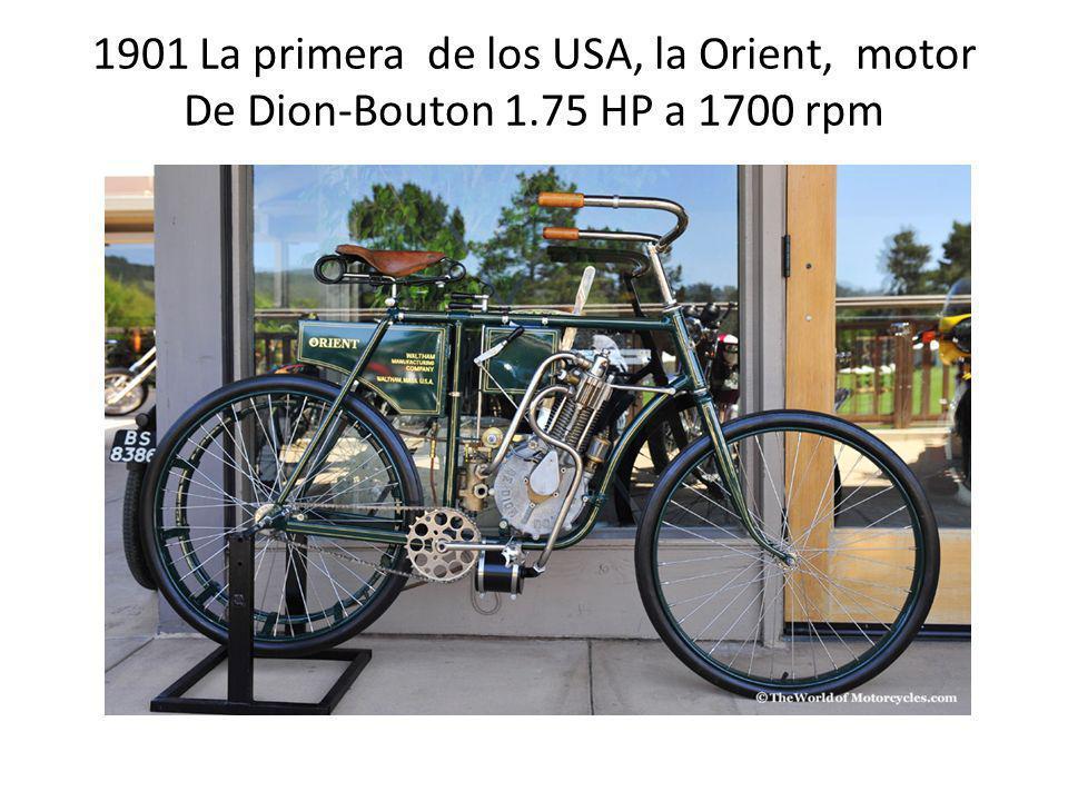 1901 La primera de los USA, la Orient, motor De Dion-Bouton 1.75 HP a 1700 rpm