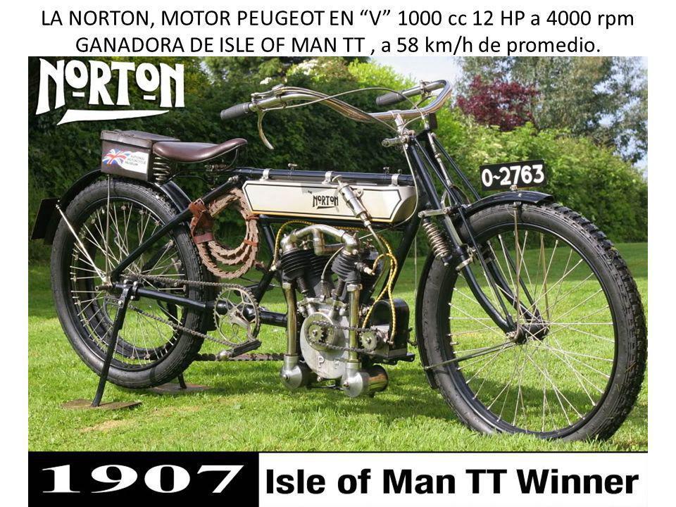 LA NORTON, MOTOR PEUGEOT EN V 1000 cc 12 HP a 4000 rpm GANADORA DE ISLE OF MAN TT, a 58 km/h de promedio.