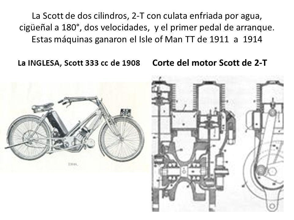 La Scott de dos cilindros, 2-T con culata enfriada por agua, cigüeñal a 180°, dos velocidades, y el primer pedal de arranque. Estas máquinas ganaron e