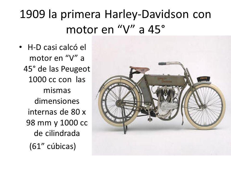1909 la primera Harley-Davidson con motor en V a 45° H-D casi calcó el motor en V a 45° de las Peugeot 1000 cc con las mismas dimensiones internas de
