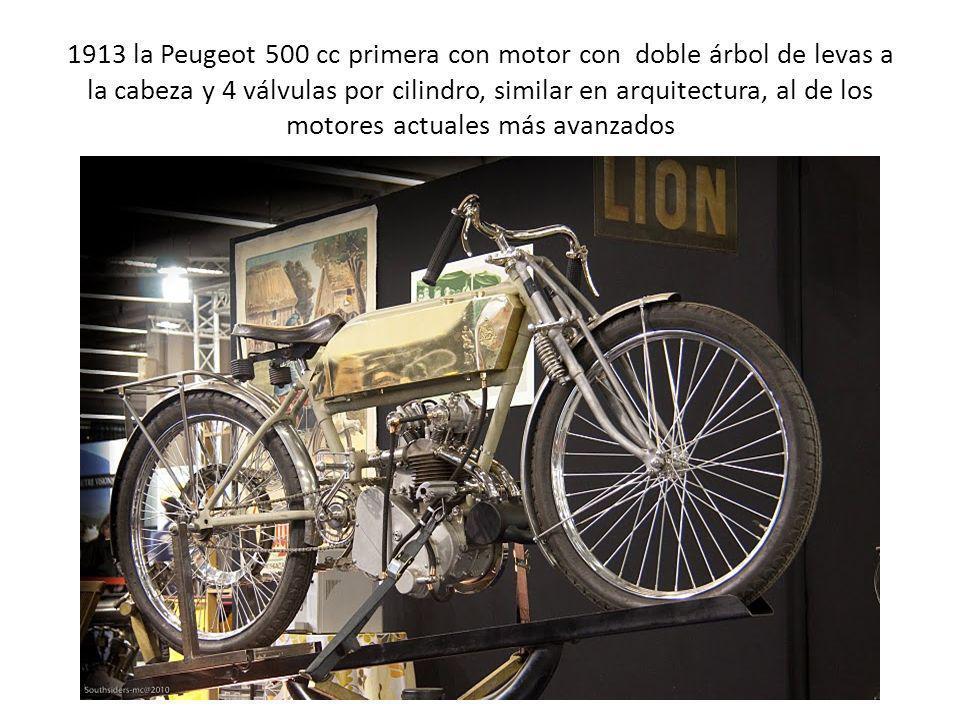 1913 la Peugeot 500 cc primera con motor con doble árbol de levas a la cabeza y 4 válvulas por cilindro, similar en arquitectura, al de los motores ac