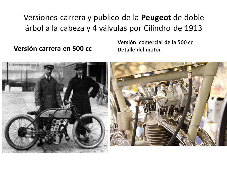 Versiones carrera y publico de la Peugeot de doble árbol a la cabeza y 4 válvulas por Cilindro de 1913 Versión carrera en 500 cc Versión comercial de