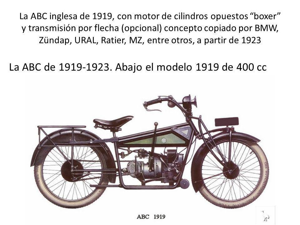 La ABC inglesa de 1919, con motor de cilindros opuestos boxer y transmisión por flecha (opcional) concepto copiado por BMW, Zündap, URAL, Ratier, MZ,