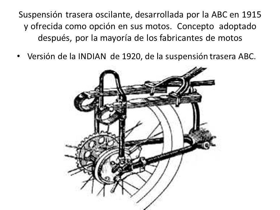 Suspensión trasera oscilante, desarrollada por la ABC en 1915 y ofrecida como opción en sus motos. Concepto adoptado después, por la mayoría de los fa