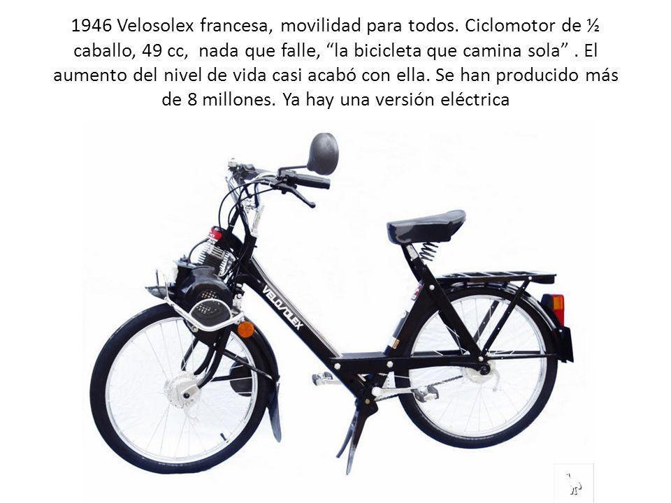 1946 Velosolex francesa, movilidad para todos. Ciclomotor de ½ caballo, 49 cc, nada que falle, la bicicleta que camina sola. El aumento del nivel de v