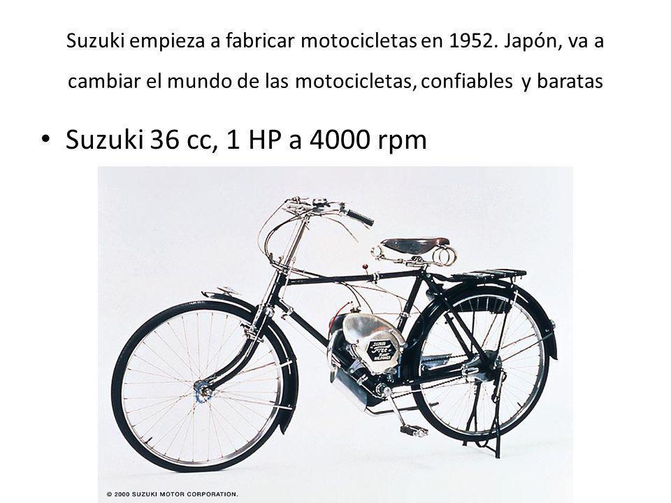 Suzuki empieza a fabricar motocicletas en 1952. Japón, va a cambiar el mundo de las motocicletas, confiables y baratas Suzuki 36 cc, 1 HP a 4000 rpm