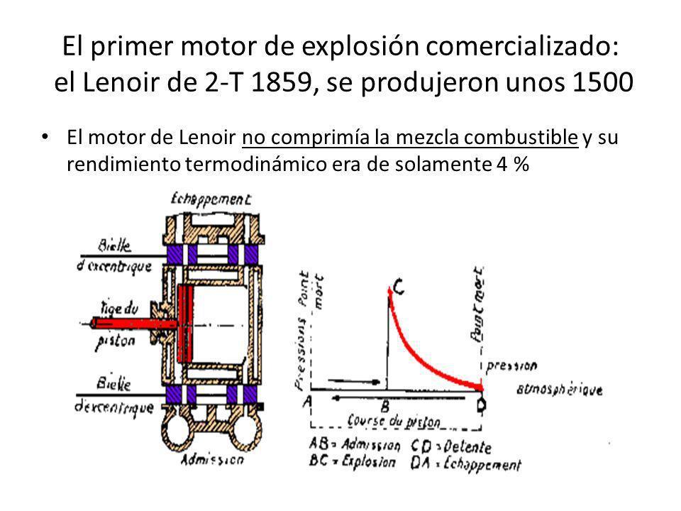 El primer motor de explosión comercializado: el Lenoir de 2-T 1859, se produjeron unos 1500 El motor de Lenoir no comprimía la mezcla combustible y su