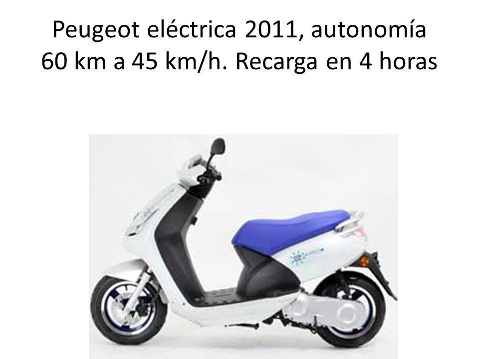 Peugeot eléctrica 2011, autonomía 60 km a 45 km/h. Recarga en 4 horas