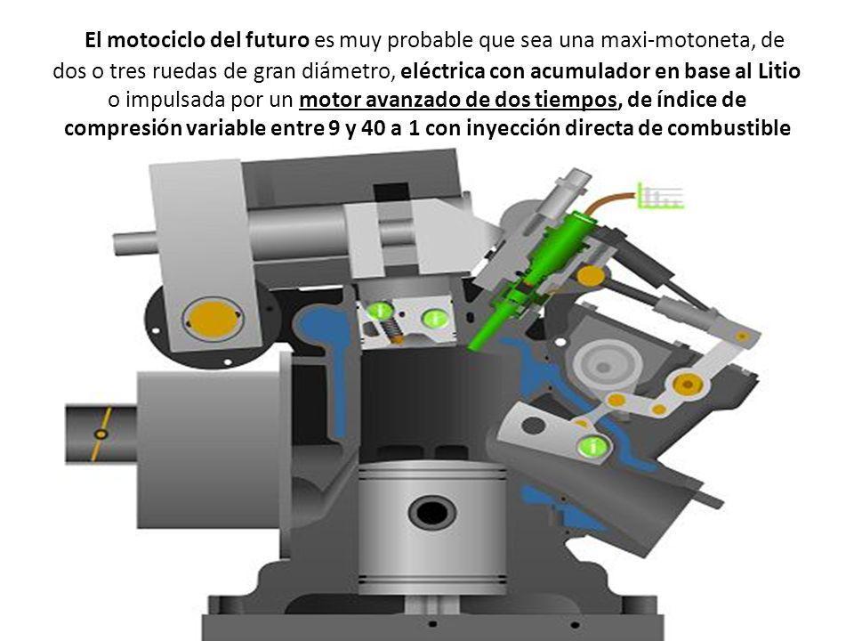 El motociclo del futuro es muy probable que sea una maxi-motoneta, de dos o tres ruedas de gran diámetro, eléctrica con acumulador en base al Litio o