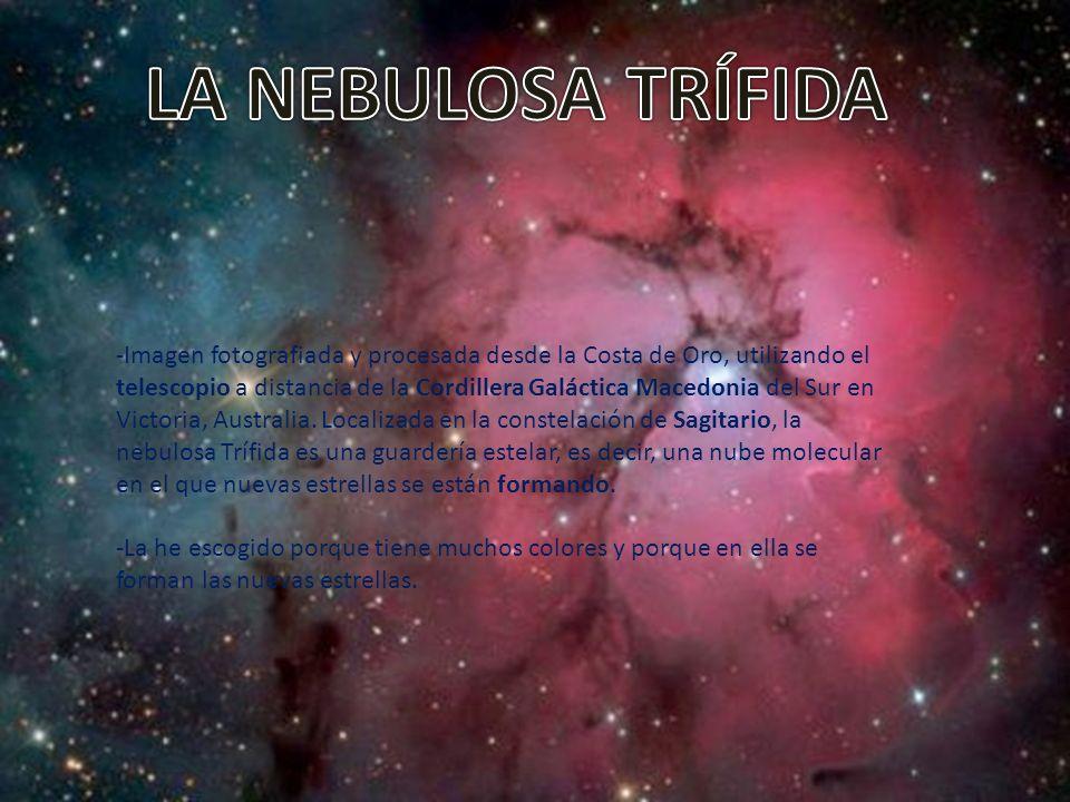 -Imagen fotografiada y procesada desde la Costa de Oro, utilizando el telescopio a distancia de la Cordillera Galáctica Macedonia del Sur en Victoria, Australia.