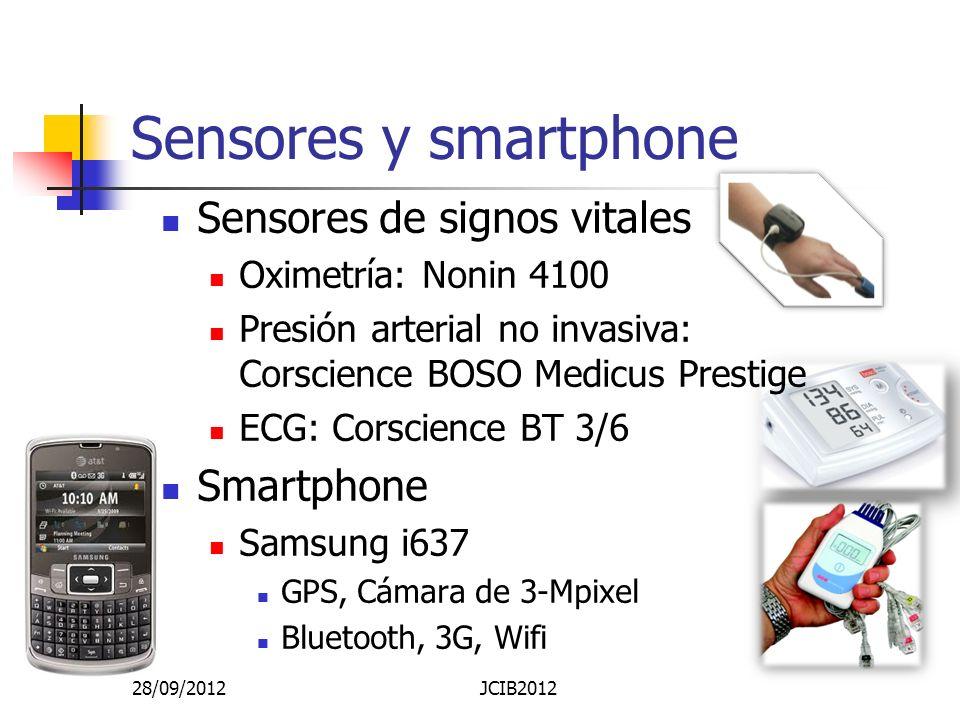 Sensores y smartphone Sensores de signos vitales Oximetría: Nonin 4100 Presión arterial no invasiva: Corscience BOSO Medicus Prestige ECG: Corscience BT 3/6 Smartphone Samsung i637 GPS, Cámara de 3-Mpixel Bluetooth, 3G, Wifi 28/09/2012JCIB2012