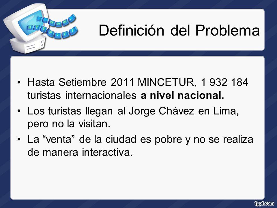 Definición del Problema Hasta Setiembre 2011 MINCETUR, 1 932 184 turistas internacionales a nivel nacional. Los turistas llegan al Jorge Chávez en Lim