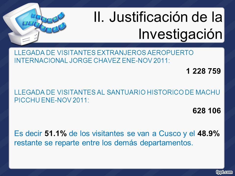 II. Justificación de la Investigación LLEGADA DE VISITANTES EXTRANJEROS AEROPUERTO INTERNACIONAL JORGE CHAVEZ ENE-NOV 2011: 1 228 759 LLEGADA DE VISIT