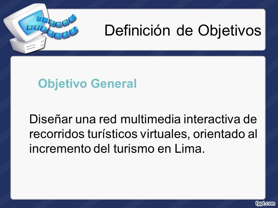 Definición de Objetivos Objetivo General Diseñar una red multimedia interactiva de recorridos turísticos virtuales, orientado al incremento del turism