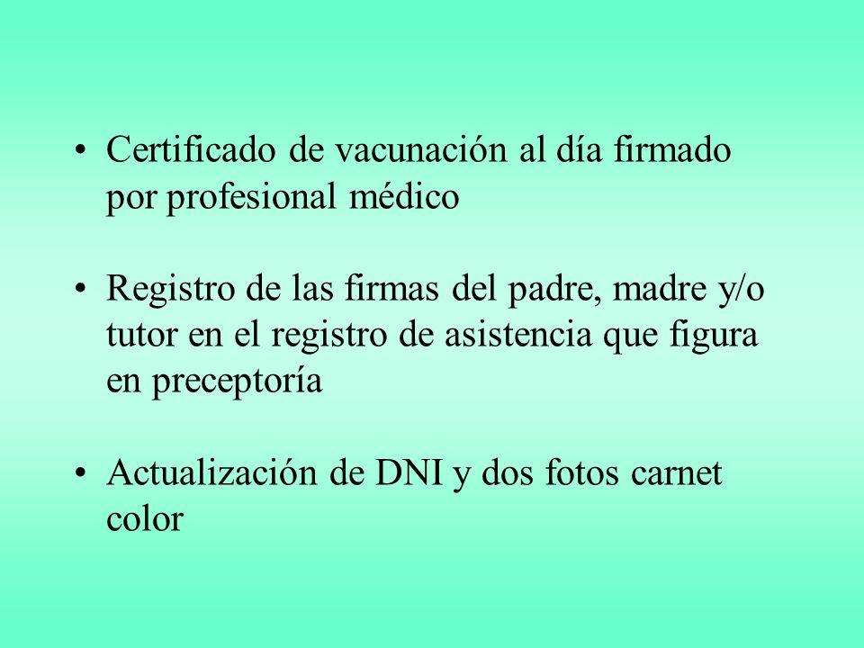 Certificado de vacunación al día firmado por profesional médico Registro de las firmas del padre, madre y/o tutor en el registro de asistencia que figura en preceptoría Actualización de DNI y dos fotos carnet color