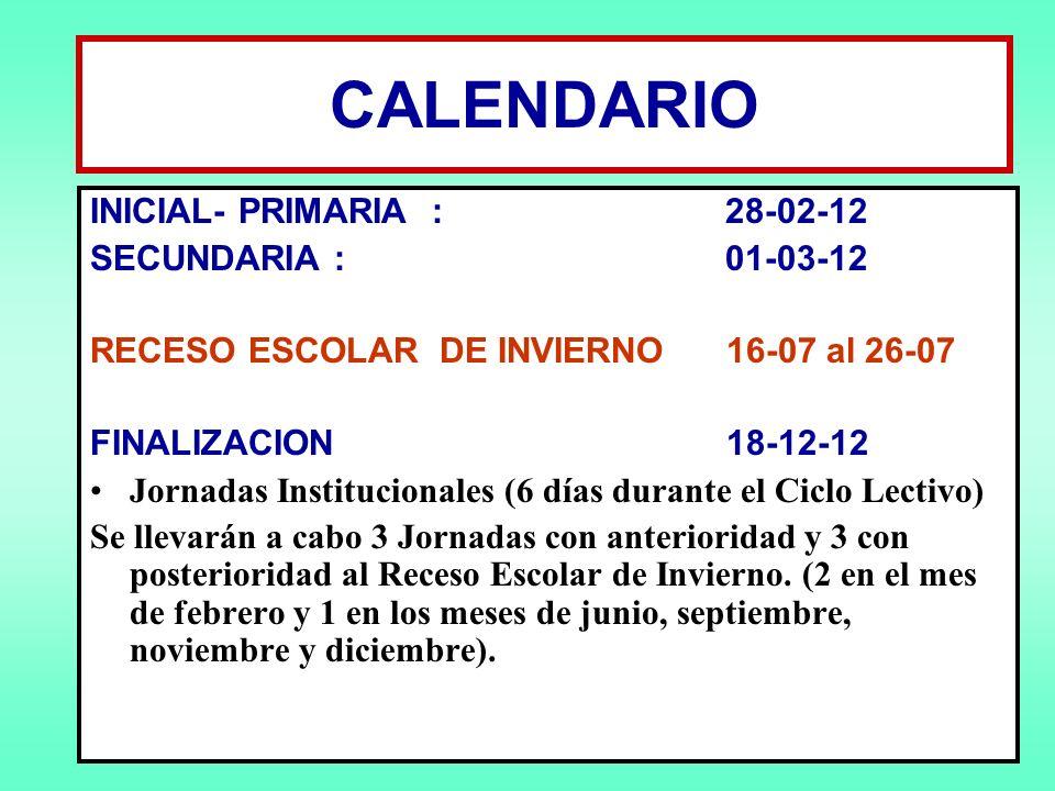 CALENDARIO INICIAL- PRIMARIA : 28-02-12 SECUNDARIA : 01-03-12 RECESO ESCOLAR DE INVIERNO 16-07 al 26-07 FINALIZACION 18-12-12 Jornadas Institucionales (6 días durante el Ciclo Lectivo) Se llevarán a cabo 3 Jornadas con anterioridad y 3 con posterioridad al Receso Escolar de Invierno.